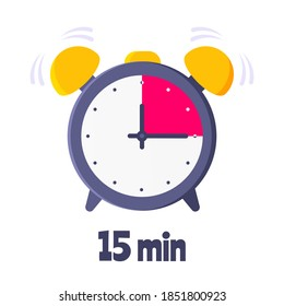 Fifteen minutes on analog clock face flat style design vector illustration icon sign isolated on white background. Analogue wall clock 15 minutes time management business concept.