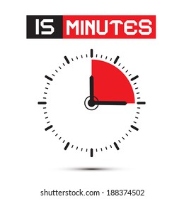 Fifteen Minutes Stop Watch - Clock Vector Illustration