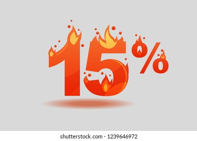 fifteen percent discount, numbers on fire. Flat Vector Illustration
