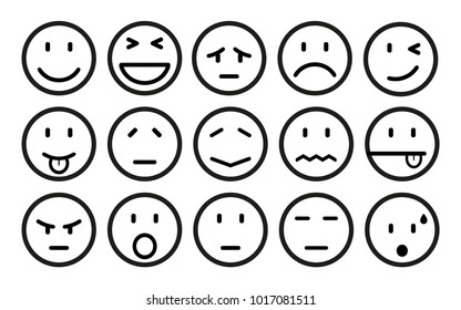 Fifteen smilies, set smiley emotion, by smilies, cartoon emoticons - stock vector