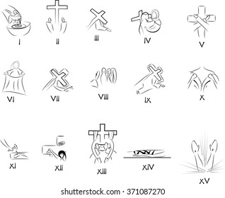 Fifteen stations of the Way of the cross (Via crucis). Simple abstract vector symbols for each of the stations.