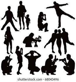Fifteen vector black silhouettes on white. People taking photos and posing.