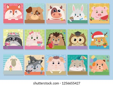 Fifteen vector cartoon animals