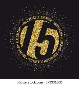 Fifteen years anniversary celebration logotype. 15th anniversary logo.