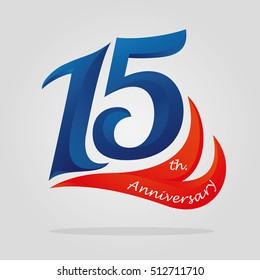 fifteen years anniversary celebration logotype. 15th anniversary logo