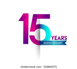 fifteen years anniversary celebration logotype colorfull design with blue ribbon, 15th birthday logo on white background