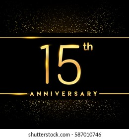fifteen years anniversary celebration logotype. 15th anniversary logo with confetti golden colored isolated on black background, vector design for greeting card and invitation card