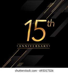 fifteen years anniversary celebration logotype. 15th anniversary logo golden colored isolated on black background, vector design for greeting card and invitation card.