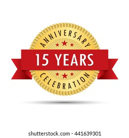 Fifteen years anniversary, fifteenth anniversary celebration gold badge icon logo vector graphic design
