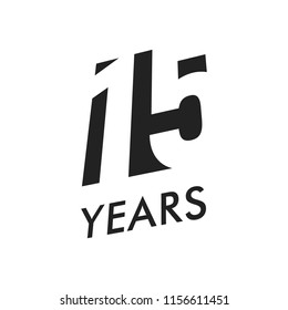 Fifteen years vector emblem template. Anniversary symbol, negative space design. Jubilee black color icon. Happy 15th birthday, abstract illustration.