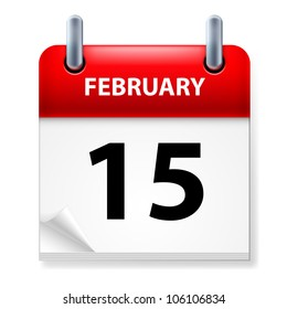 Fifteenth February in Calendar icon on white background