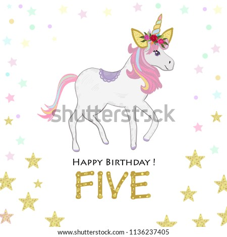 Fifth Birthday Five Unicorn Invitation Party Greeting Card