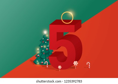 the fifth day of christmas of twelve days of Christmas/advent calendar greetings template vector/illustration
