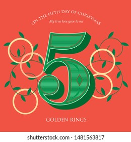 fifth day of christmas of the twelve days of christmas/ advent calendar template vector/illustration