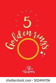 the fifth day of christmas of the twelve days of christmas - five golden rings template vector/illustration