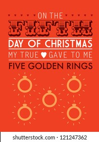 fifth day of the twelve days of christmas template vector/illustration - five golden rings