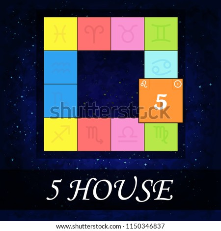 Fifth House Horoscope Starry Background Astrology Stock Vector