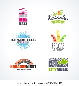 Fifth set of dj music equalizer logo vector.