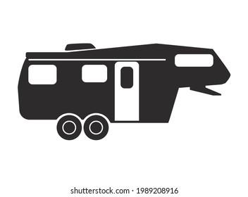 Fifth Wheel RV Camper vector silhouette - 5th Wheel Travel Trailer
