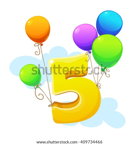 Fifth Year Happy Birthday Card Child Stock Vector Royalty Free