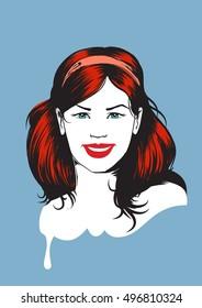Fifties girl face - illustration