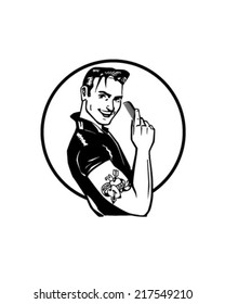 Fifties Greaser - Retro Clipart Illustration