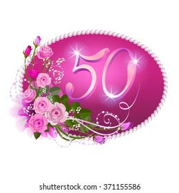 Fiftieth anniversary: An elegant template for jubilee invitation with a pink roses and numbers in floral style.