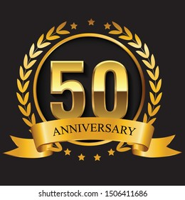 fiftieth anniversary golden logo emblem with ribbon and the number 50th vector graphic designing silhouette
