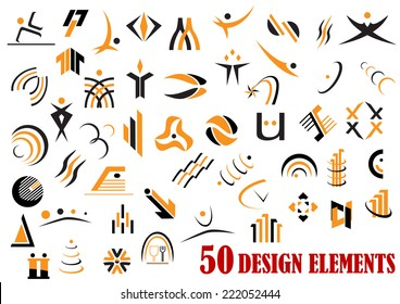 Fifty abstract design elements in black and yellow for web and business logo design