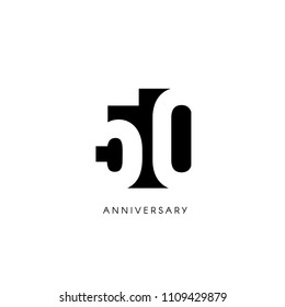 Fifty anniversary, minimalistic logo. Fiftieth years, 50th jubilee, greeting card. Birthday invitation. 50 year sign. Black negative space vector illustration on white background