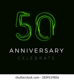 Fifty Anniversary poster for party. 50th years sign. Fiftieth birthday celebrate. Discount fifty percent sign. Sale 50 off on cyber monday or black friday. Numbers for Halloween. Vector illustration
