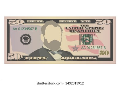 Fifty dollars bill. 50 US dollars banknote, front view. Vector illustration on white background