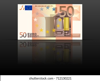 Fifty euro banknote on a black background.