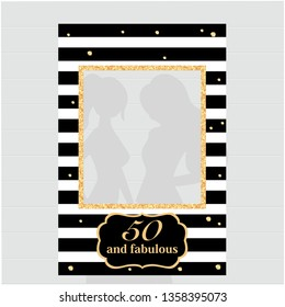 Fifty and fabulous - 50th birthday black and gold photo booth frame. Strike a Pose photoshooting with props on sticks. Vector template.