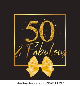 Fifty and fabulous - 50th birthday greeting card, banner for social network and invitation. Strike a Pose photoshooting with props on sticks. Vector template.