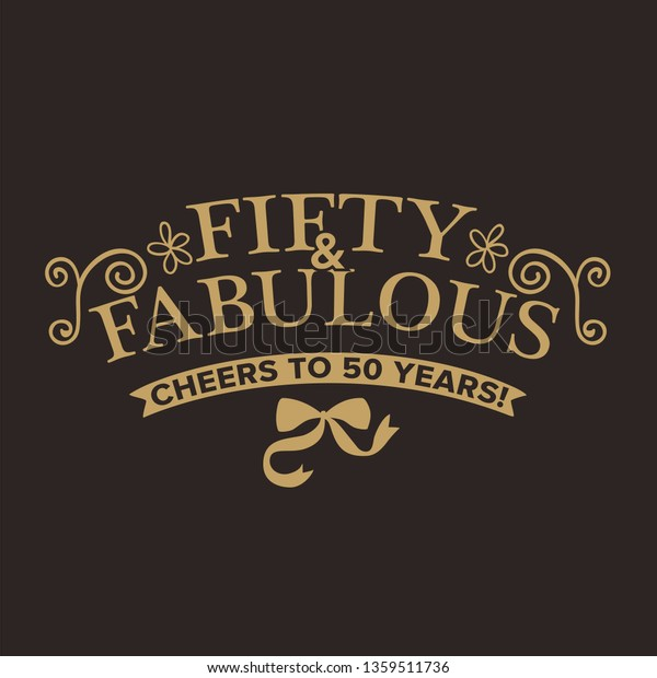 Fab 50 People: Fifty Fabulous 50th Birthday Greeting Card Stock Vector