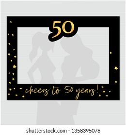 Fifty and fabulous - 50th birthday photo booth frame. Strike a Pose photoshooting with props on sticks. Vector template.