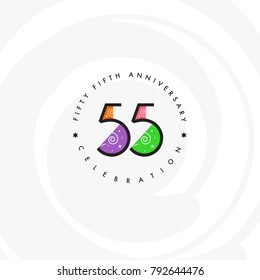 Fifty five years, 55th Anniversary Celebration Logo Design, Number 55 Icon Vector Template.