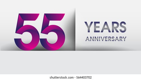 fifty five years Anniversary celebration logo, flat design isolated on white background, vector elements for banner, invitation card for 55th birthday party