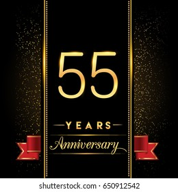 fifty five years anniversary celebration logotype. 55th anniversary logo with confetti golden colored and red ribbon isolated on black background, vector design for greeting card and invitation card.