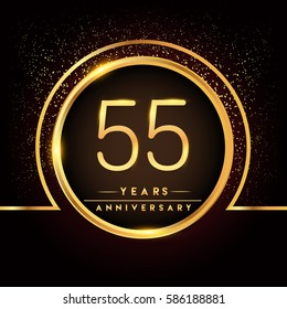 fifty five years birthday celebration logotype. 55th anniversary logo with confetti and golden ring isolated on black background, vector design for greeting card and invitation card.