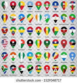Fifty four Flags of African countries - alphabetical order with name.  Set of 2d geolocation signs like national flags of Africa. Fifty four geolocation signs for your web site design, logo, app, UI
