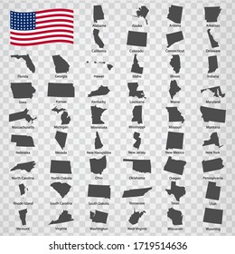 Fifty Maps Stats of USA - alphabetical order with name. Every single map of state are listed and isolated with wordings and titles. United States of America. EPS10.