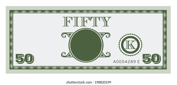 Fifty money bill image. With space to add your text, information and image.