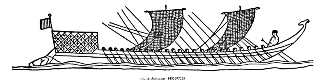 Fifty Oared Greek Boat which is an ancient Greek boat with 50 oars, vintage line drawing or engraving illustration.