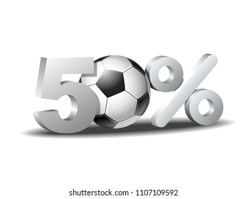 bf19d1f06 Fifty percent discount icon with soccer ball