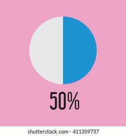 Fifty percentage circle icon, vector illustrator