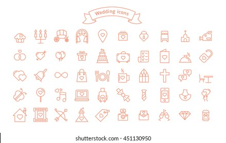 Fifty Wedding vector icons