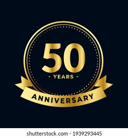 Fifty Years Anniversary Celebration Gold and Black Isolated Vector