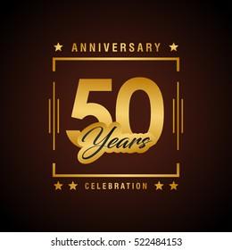 Fifty years anniversary celebration logotype. 50th year anniversary logo collection. Anniversary label. Anniversary logo template. Anniversary sign. Vector Illustration